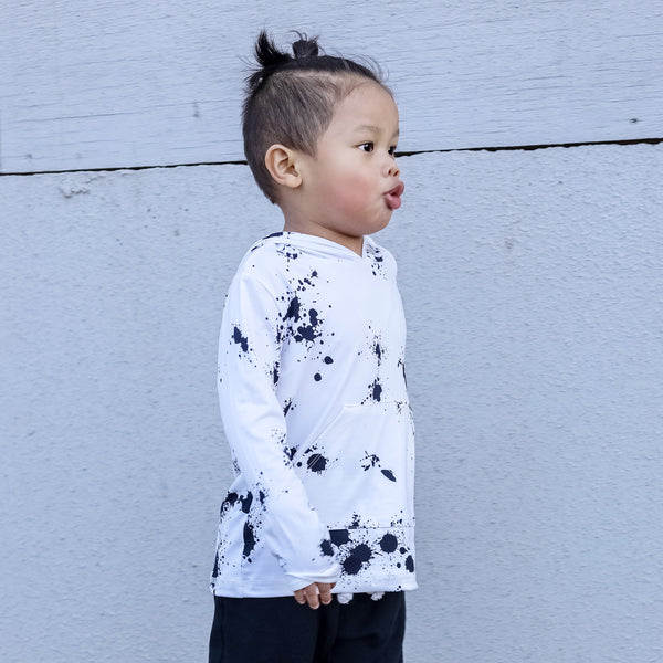 White Splatter Long Sleeve Pocket Hoodie