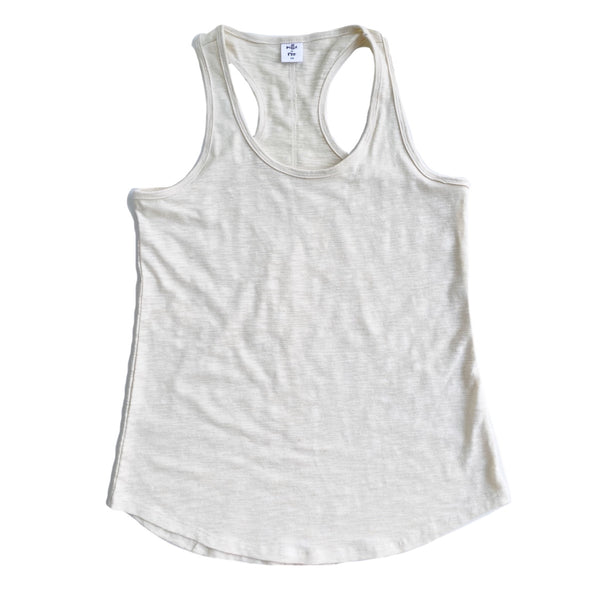 Natural Cotton Slub Mama Racerback Tank