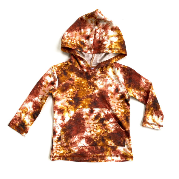 Rust Tie Dye Long Sleeve Pocket Hoodie