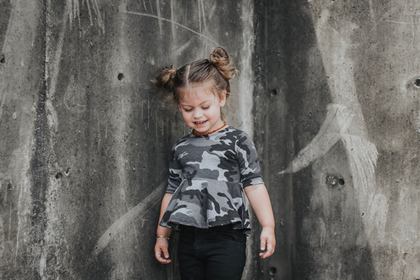 Dusty Black Camo Mid Sleeve Peplum