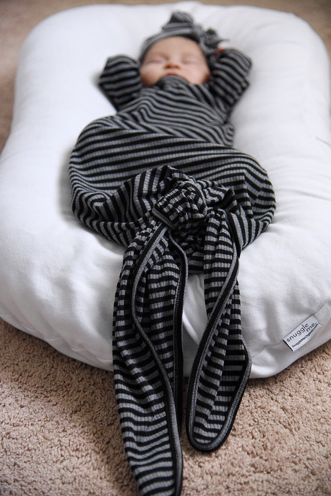 Grey + Black Mini Stripe Rib Knot Gown