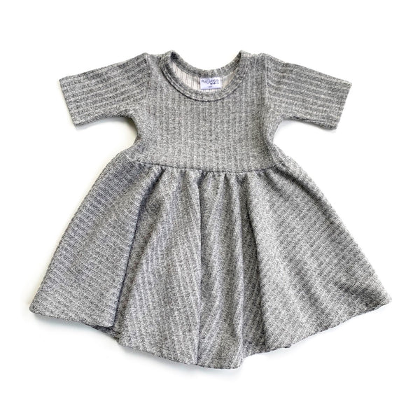 Silver Shimmer Mid Sleeve Twirl Dress