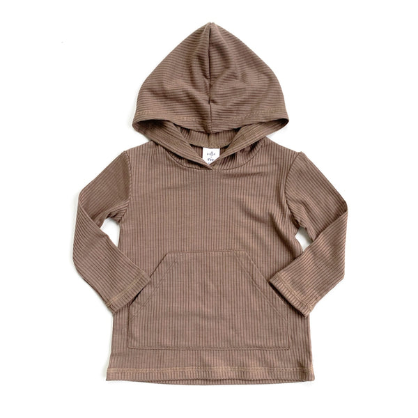 Latte Rib Long Sleeve Pocket Hoodie