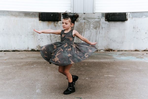 Weathered Camo Tank Twirl Dress