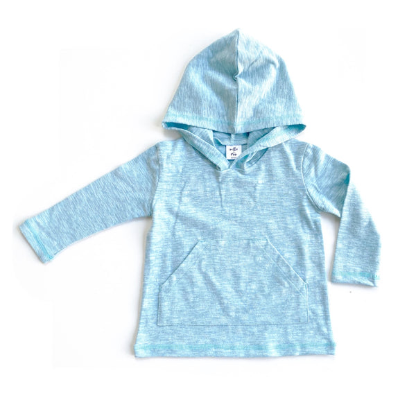 Robins Egg Cotton Slub Long Sleeve Pocket Hoodie