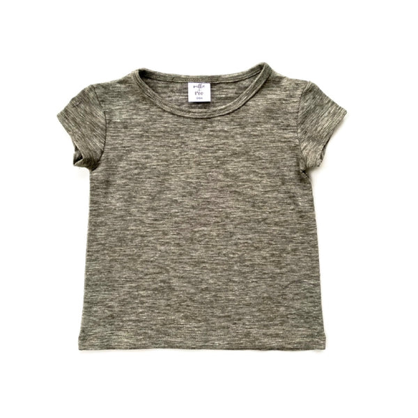 Olive Cotton Slub Basic Tee - Short Sleeve