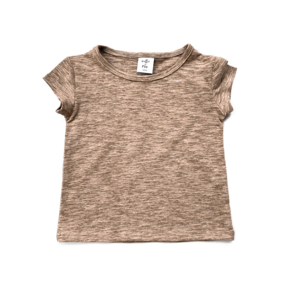 Taupe Cotton Slub Basic Tee - Short Sleeve