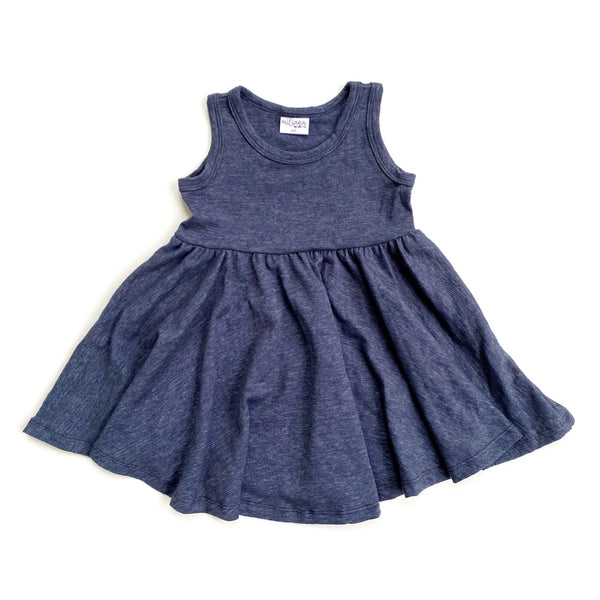 Tank- Navy Cotton Slub Twirl Dress