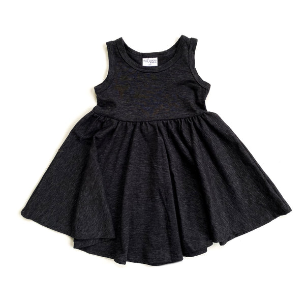 Tank- Black Cotton Slub Twirl Dress