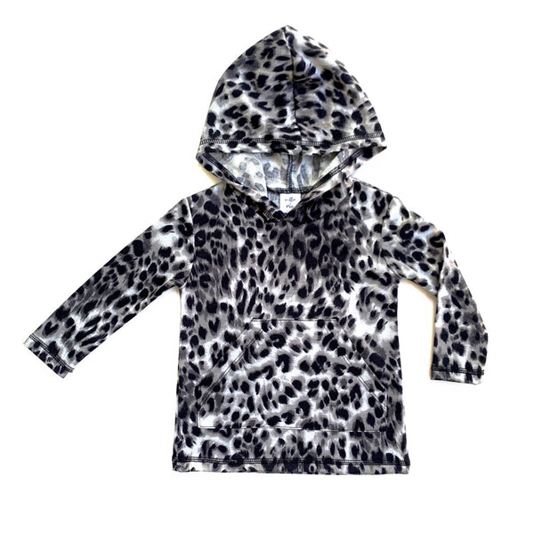 Snow Leopard Long Sleeve Pocket Hoodie