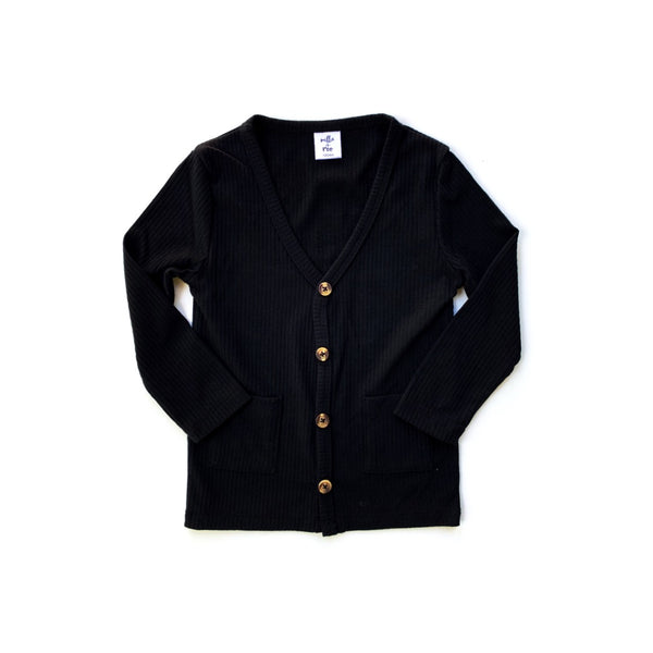 Solid Black Rib Cardigan