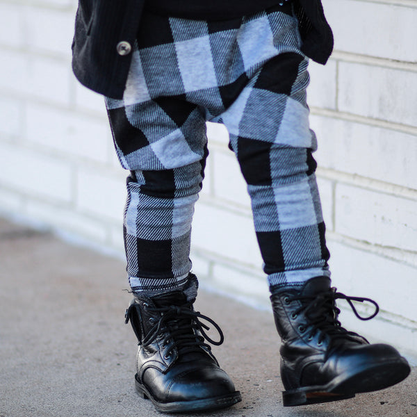 Grey Buffalo Plaid Jacquard Harem Pants