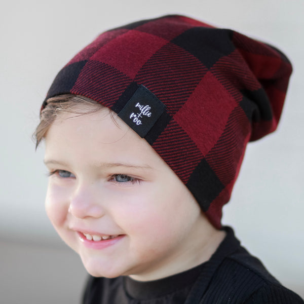 Burgundy (Wine) Buffalo Plaid Beanie