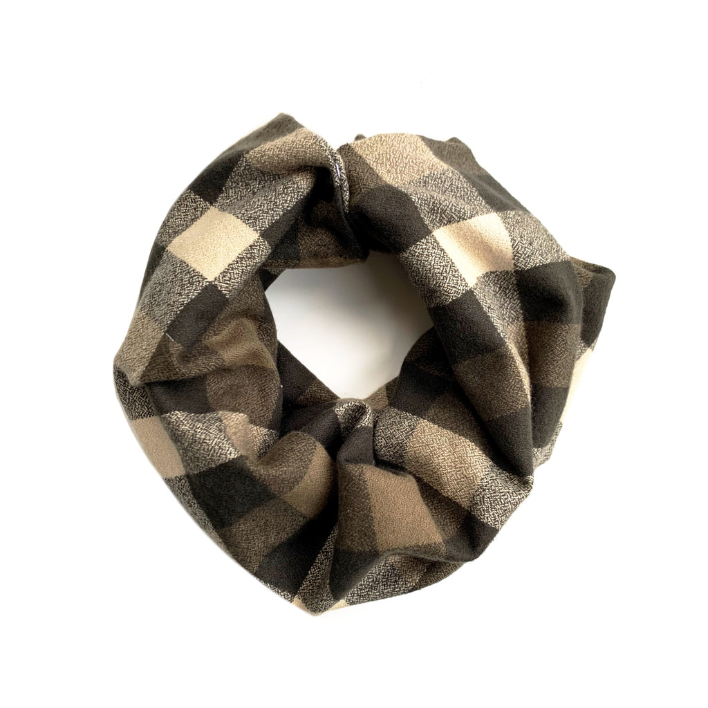 Olive Plaid Infant/Toddler/Child Infinity Scarf