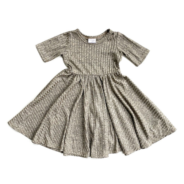 Champagne Rib Sparkle Mid Sleeve Twirl Dress
