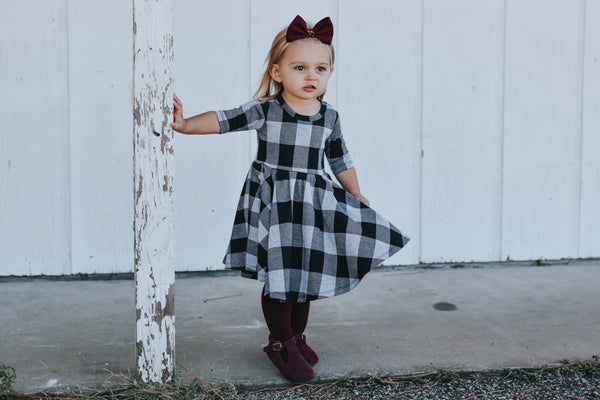 Grey Buffalo Plaid Jacquard Mid Sleeve Twirl Dress
