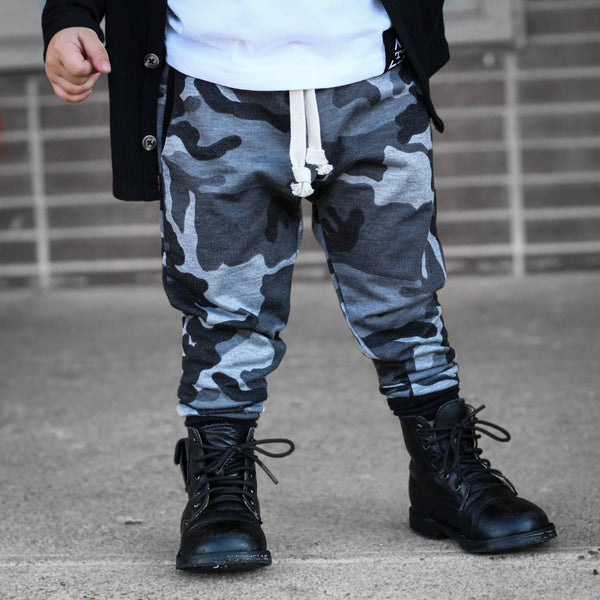Dusty Black Camo Joggers