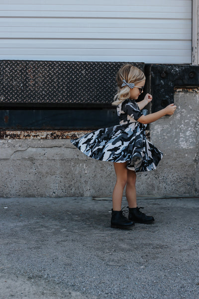 Slate Camo Mid Sleeve Twirl Dress
