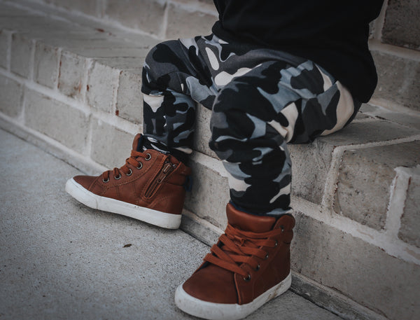 Slate Camo French Terry Harem Pants