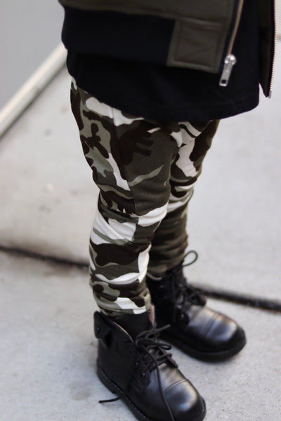 Olive Camo French Terry Harem Pants