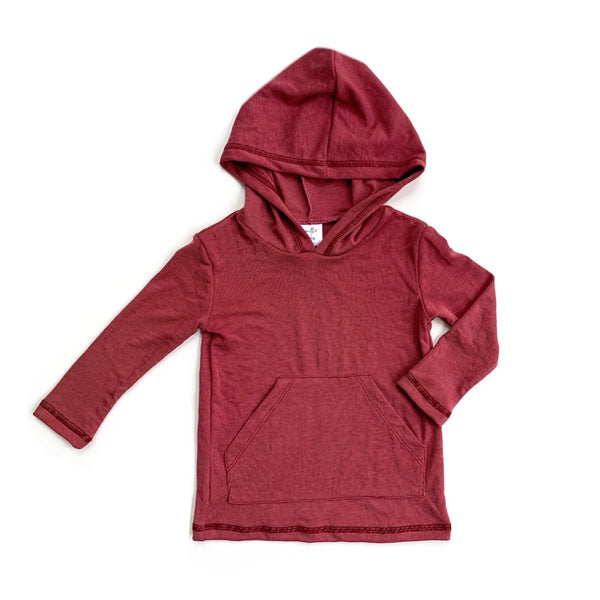 Faded Red Cupro Long Sleeve Pocket Hoodie