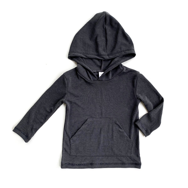 Charcoal Cupro Long Sleeve Pocket Hoodie