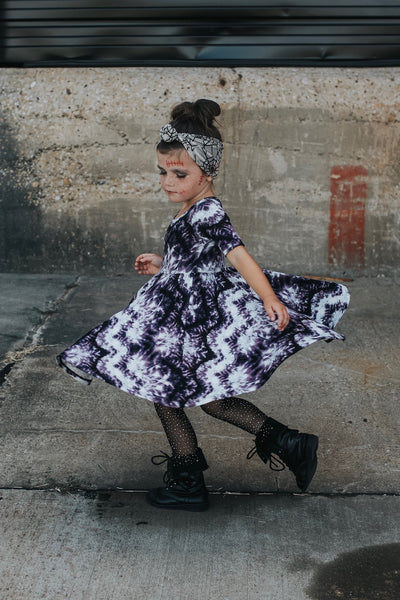 Purple Tie Dye Mid Sleeve Twirl Dress