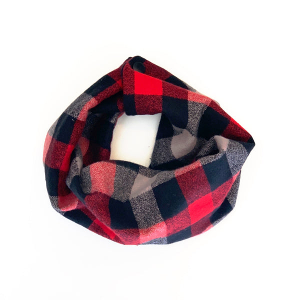 Red + Grey + Black Buffalo Plaid Infant/Toddler Infinity Scarf