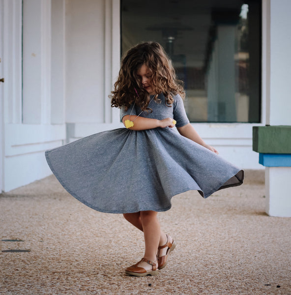 Grey Tri Blend Mid Sleeve Twirl Dress