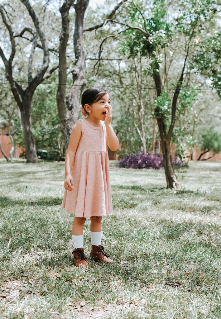 Tank- Peach Cotton Slub Twirl Dress
