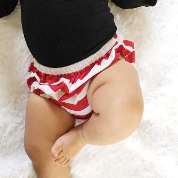 Red and White Stripe Knit Bloomers