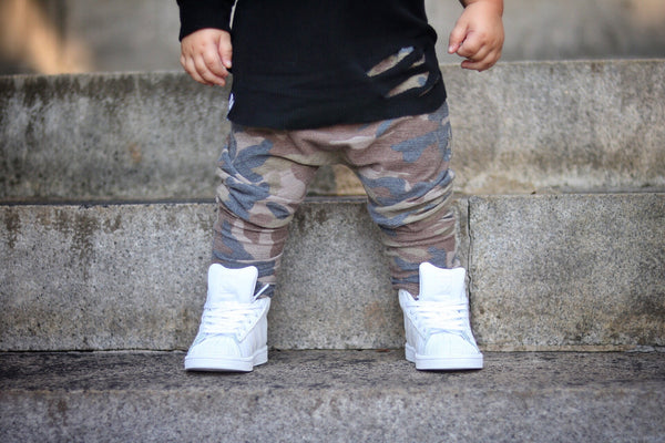 Dusty Brown Camo Stretch French Terry Harem Pants