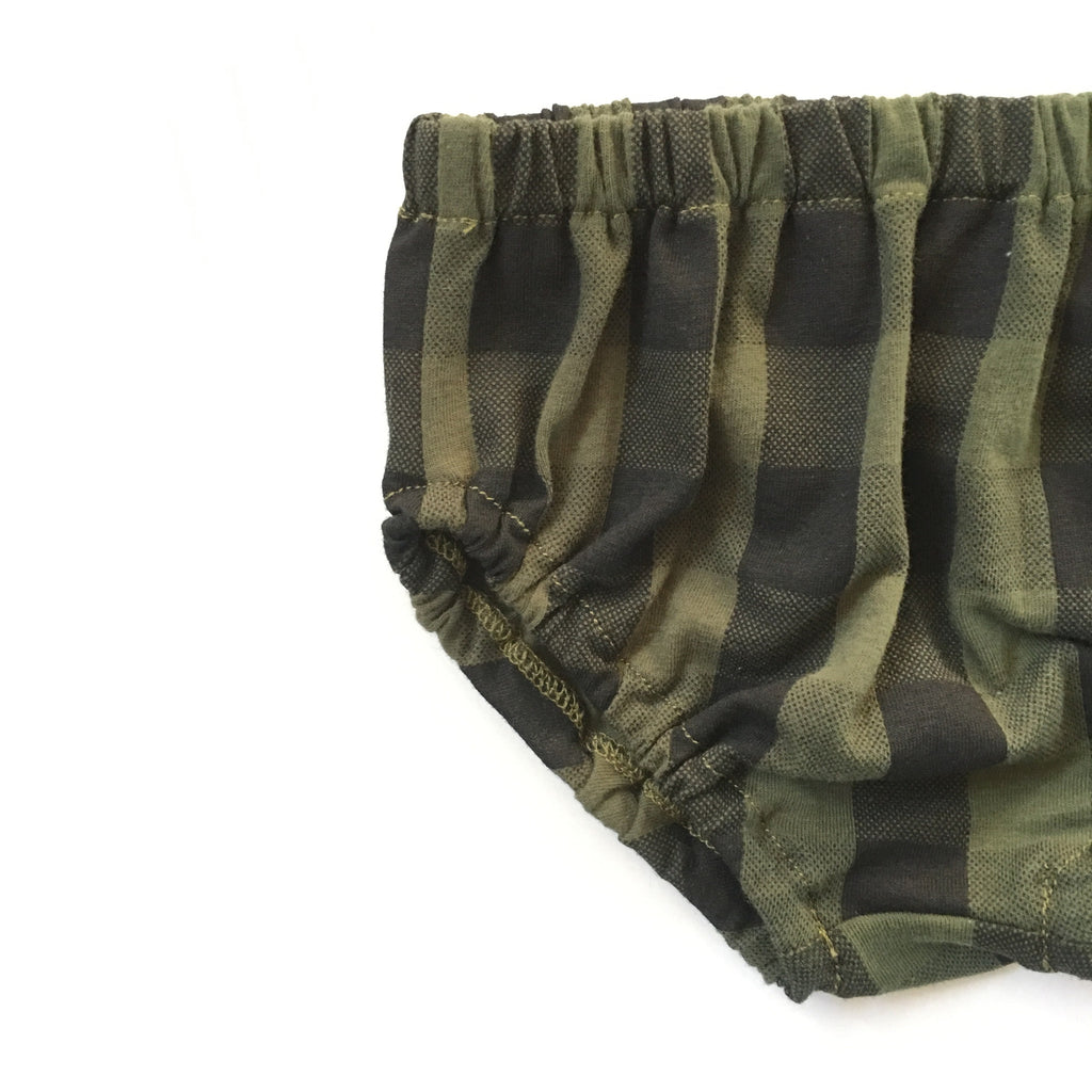 Olive Green Buffalo Plaid Knit Bloomers