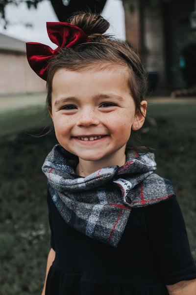 Dark Winter Grey + Red Plaid Infant/Toddler Infinity Scarf