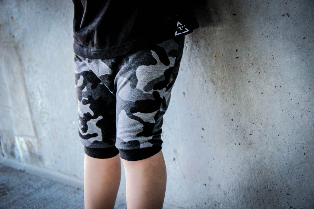 Dusty Black Camo Harem Shorts