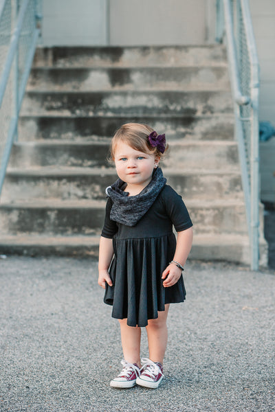 Black Rib Mid Sleeve Twirl Dress