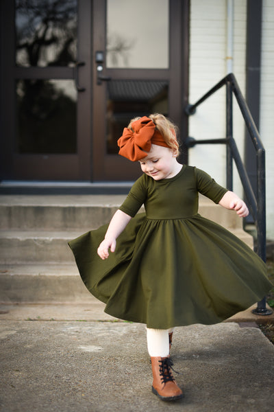 Olive Stretch French Terry Mid Sleeve Twirl Dress