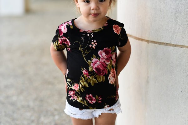 Black Floral Basic Tee - Short Sleeve