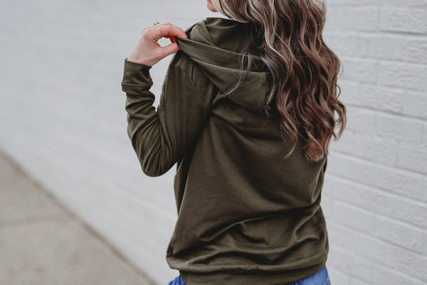 Olive Stretch Adult Unisex Long Sleeve Hoodie