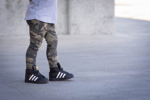 Dark Camo Stretch French Terry Harem Pants