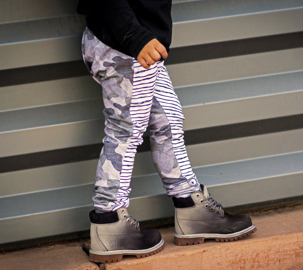 Custom Stripe + Camo Harem Pants