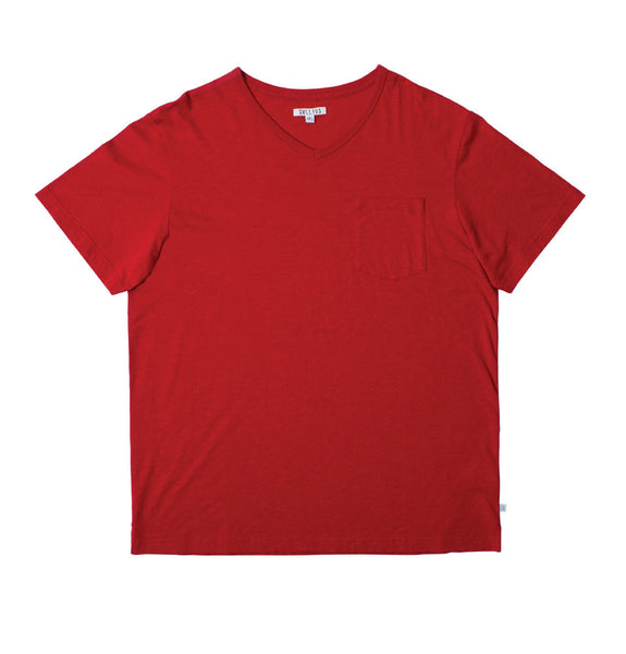 The Slub V T-shirt - Red
