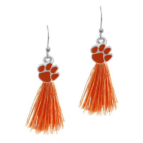 Clemson Tigers Tassel Charm Earrings