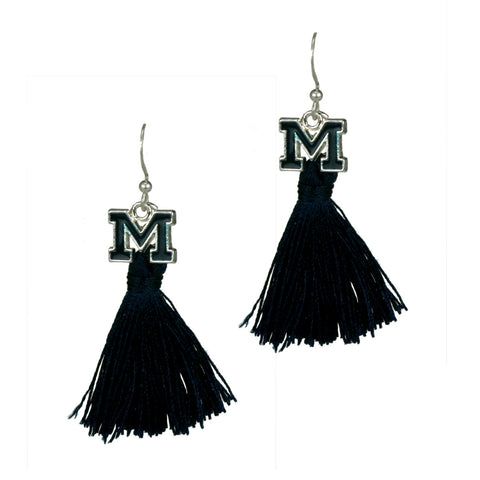 University of Michigan Wolverines Tassel Charm Earrings