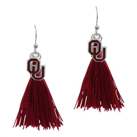 Oklahoma Sooners Tassel Charm Earrings