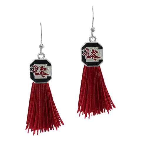 University of South Carolina (UofSC) Gamecocks Tassel Charm Earrings