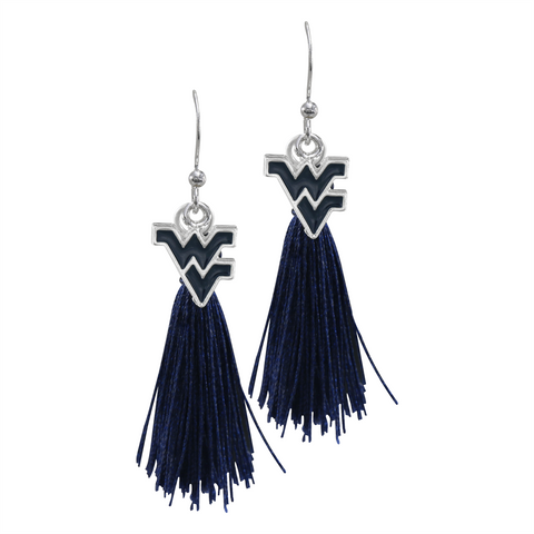 West Virginia (WVU) Mountaineers Tassel Charm Earrings