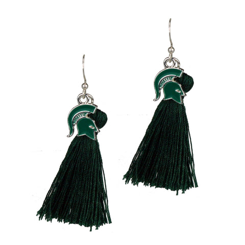 Michigan State Spartans Tassel Charm Earrings