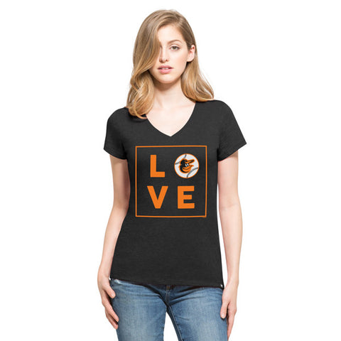 '47 Baltimore Orioles Black Club V-Neck Tee