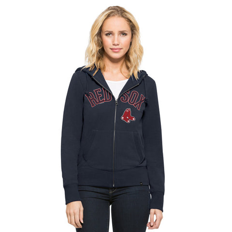 '47 Boston Red Sox Navy Shimmer Cross Check Full Zip